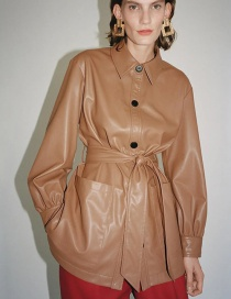 Fashion Brown Faux Leather Shirt With Belt Jacket