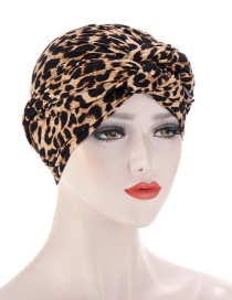 Fashion Leopard Flower Print Knotted Milk Silk Turban Hat