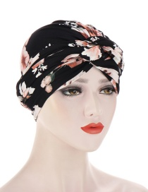 Fashion Black Pink Flower Flower Print Knotted Milk Silk Turban Hat