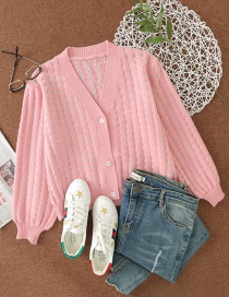 Fashion Pink Hollow V-neck Buttoned Loose Cardigan