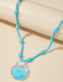 Fashion Blue Rice Beads Beaded Apple Pendant Necklace