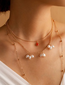 Fashion Golden Pearl Beaded Alloy Multilayer Necklace