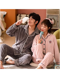 Fashion Ash Powder (female) Cardigan Coral Fleece Couple Pajamas Home Service Suit