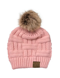 Fashion Pink Knitted Hat With Bamboo Woven Letter Mark Cross With Back Opening
