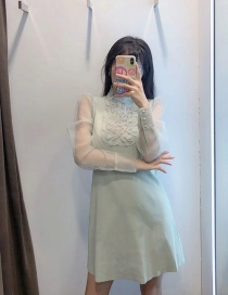 Fashion Lake Green Knitted Dress With Organza Wood Ears