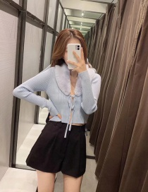 Fashion Blue Faux Fur Panel Knitted Jacket