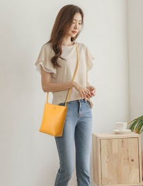 Fashion Yellow Solid Color Snap Stitching Shoulder Bag