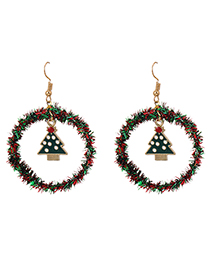 Fashion Red Dot Christmas Tree Hollow Round Christmas Earrings With Alloy Ribbon
