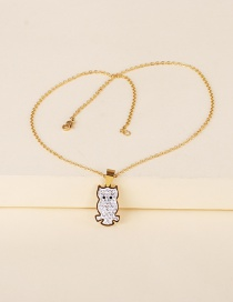 Fashion Golden Stainless Steel Animal Owl Pendant Necklace