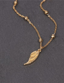 Fashion Golden Angel Wing Pendant Round Bead Necklace