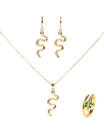 Fashion Suit Diamond Cobra Pendant Necklace Earrings Ring Set