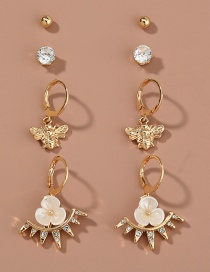 Fashion Gold Color Bee Diamond Flower Alloy Earring Set