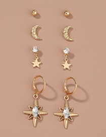 Fashion Gold Color Diamond-studded Five-pointed Star Geometric Alloy Earrings Set