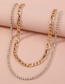 Fashion Gold Color Diamond Thick Chain Double Necklace