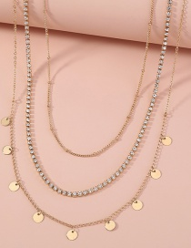 Fashion Gold Color Multilayer Necklace With Diamond Catch Chain Disc