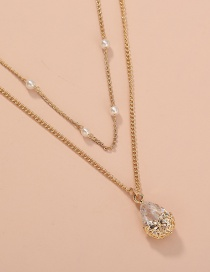 Fashion Gold Color Copper Inlaid Zircon Craft Pearl Double Necklace