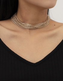 Fashion Gold Color Geometric Multilayer Necklace With Diamond Claw Chain