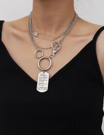Fashion White K Brooch Tag Letter Geometric Multi-layer Necklace