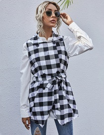 Fashion Black Irregular Hem Sleeveless Plaid Jacket