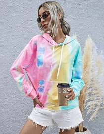 Fashion Color Printed Long Sleeve Loose Hooded Tie-dye Sweatshirt