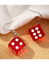 Fashion Scarlet Three-dimensional Dice Resin Alloy Earrings