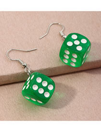 Fashion Dark Green Three-dimensional Dice Resin Alloy Earrings