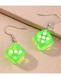 Fashion Fluorescent Color Three-dimensional Dice Resin Alloy Earrings