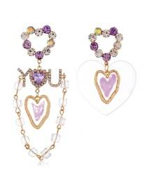 Fashion Purple Alloy Flower Diamond Pearl Earrings