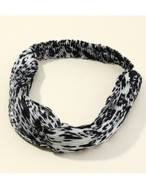 Fashion White Pleated Leopard Print Cross Elastic Headband