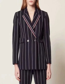 Fashion Black Contrast Stripes Blazer