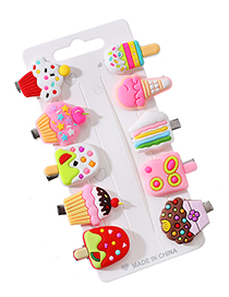 Fashion Color Alloy Soft Ceramic Ice Cream Series Duckbill Hairpin Set