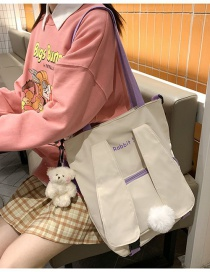 Fashion White Send Bear Pendant Hair Ball Rabbit Ears Letter Embroidery One-shoulder Diagonal Bag