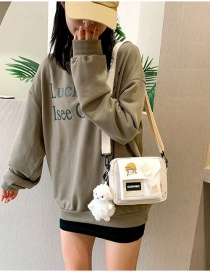 Fashion White Send Lamb Pendant Stitched Contrast Letter Label Backpack