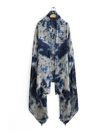 Fashion Dark Blue Printed Dirty Dyed Cotton And Linen Scarf Shawl
