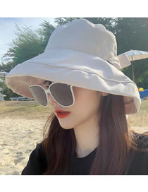Fashion Beige Foldable Solid Color Fisherman Hat With Bow
