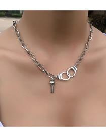 Fashion Silver Color Color Handcuffs Key Pendant Alloy Necklace