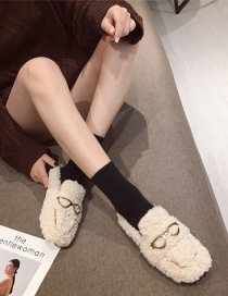 Fashion White Lamb Wool Flat Toe Cap Half Slippers With Metal Buckle