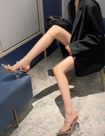 Fashion Silver Color Pointed Transparent Film High Heel Sandals And Slippers
