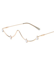 Fashion White Diamond Water Drop Diamond Lensless Glasses Frame