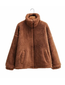 Fashion Camel Lamb Wool Stand Collar Zipper Solid Color Coat