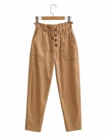 Fashion Khaki Corduroy Elastic Waist Solid Color Casual Pants