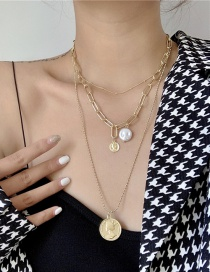 Fashion Gold Color Special-shaped Pearl Stacking Round Brand Alloy Multilayer Necklace