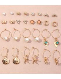 Fashion Gold Color Rose Flower Pearl Shell Starfish Alloy Earring Set