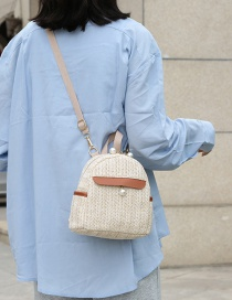 Fashion Creamy-white Straw Knitted Contrast Pearl Chain Backpack