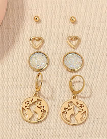 Fashion Gold Color Crystal Cluster Round Heart Map Hollow Earring Set