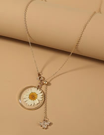 Fashion Gold Color Chrysanthemum Bee Pendant Single Layer Necklace