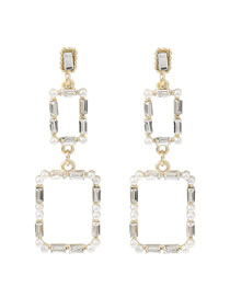 Fashion White Multilayer Square Alloy Inlaid Pearl Earrings