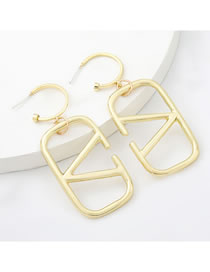 Fashion Gold Color Alloy Square Letters Geometric Earrings