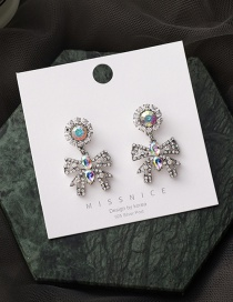 Fashion Silver Color Alloy Hollow Earrings With Bow And Diamonds