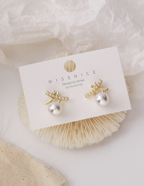 Fashion Gold Color Cross Pearl Alloy Earrings